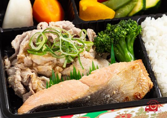 豚しゃぶと旬の魚のバター醬油焼き