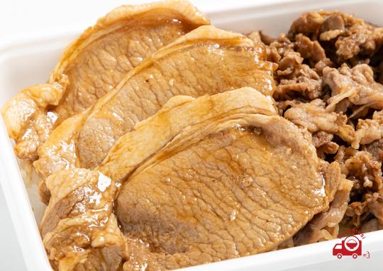 デカ盛り焼き肉と生姜焼き弁当