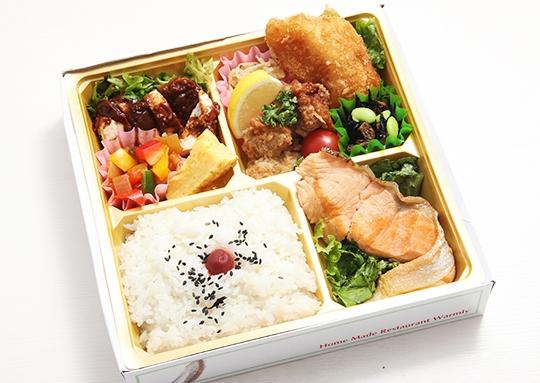 チキンソティー&白身魚のフライ&鮭塩焼き&若鶏の唐揚げ弁当