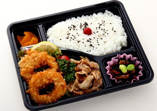 イカフライ&豚肉の生姜焼き弁当