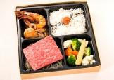 熟成肉のステーキとホタテと車エビの焼物【A5ランク】