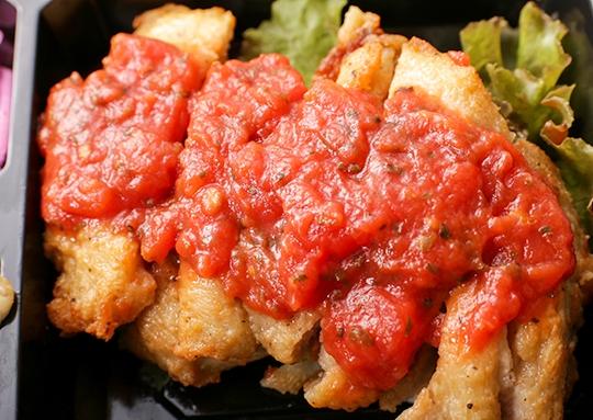 バジルトマトチキン&白身魚のきのこクリームソース弁当