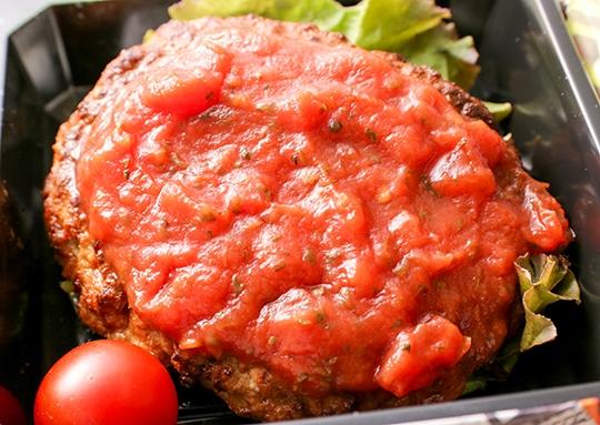 濃厚トマトソースのハンバーグ&エビフライ弁当