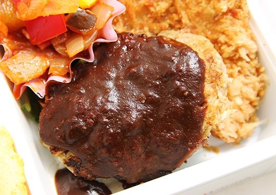 ハンバーグ&チキンの照り焼き&アジフライ弁当