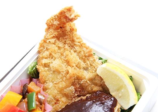ハンバーグ&キスフライ&豚肉の生姜焼き弁当